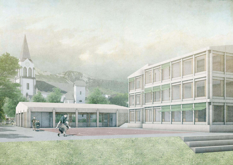 2. Bild zum Projekt 'Schule/Mehrzweckhalle Salgesch'